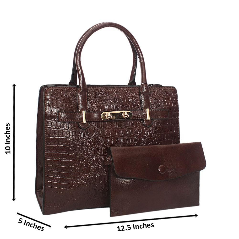 Coffee Scarlett Croc Leather Tote Handbag