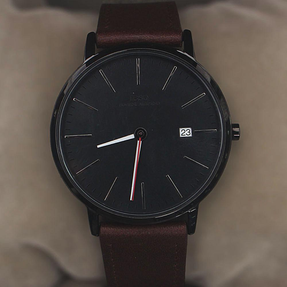Oldskul Coffee Leather Flat Watch