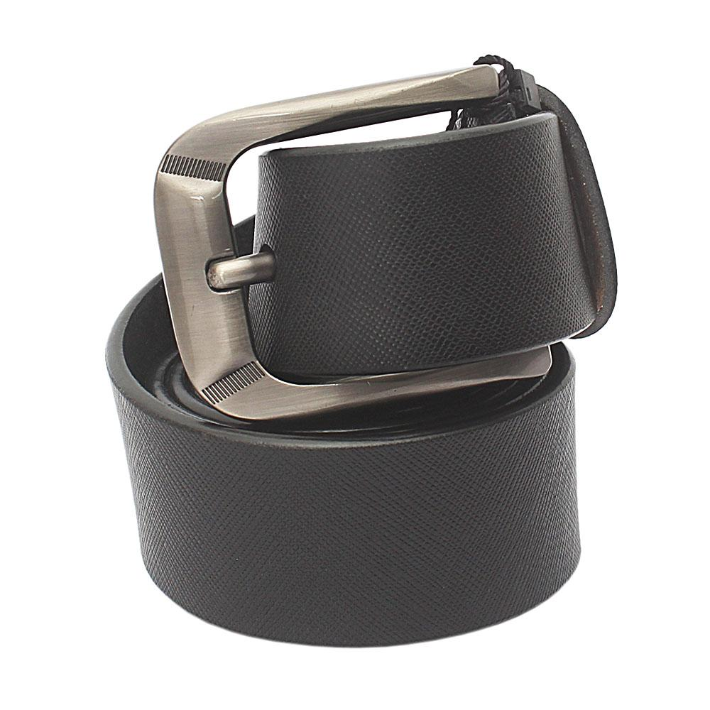 Black Exotic Leather Belt L 48 Inches