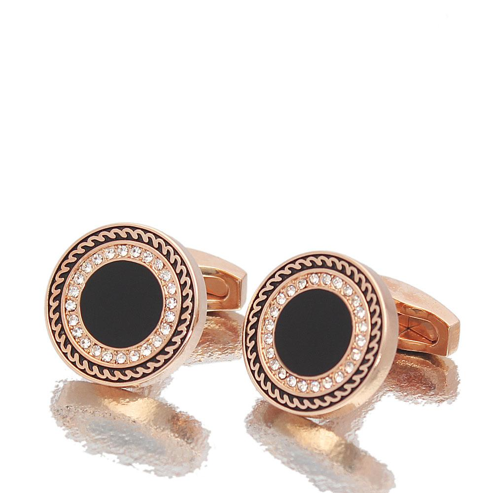 Rose gold Black Classic Studded Stainless Steel Cufflinks