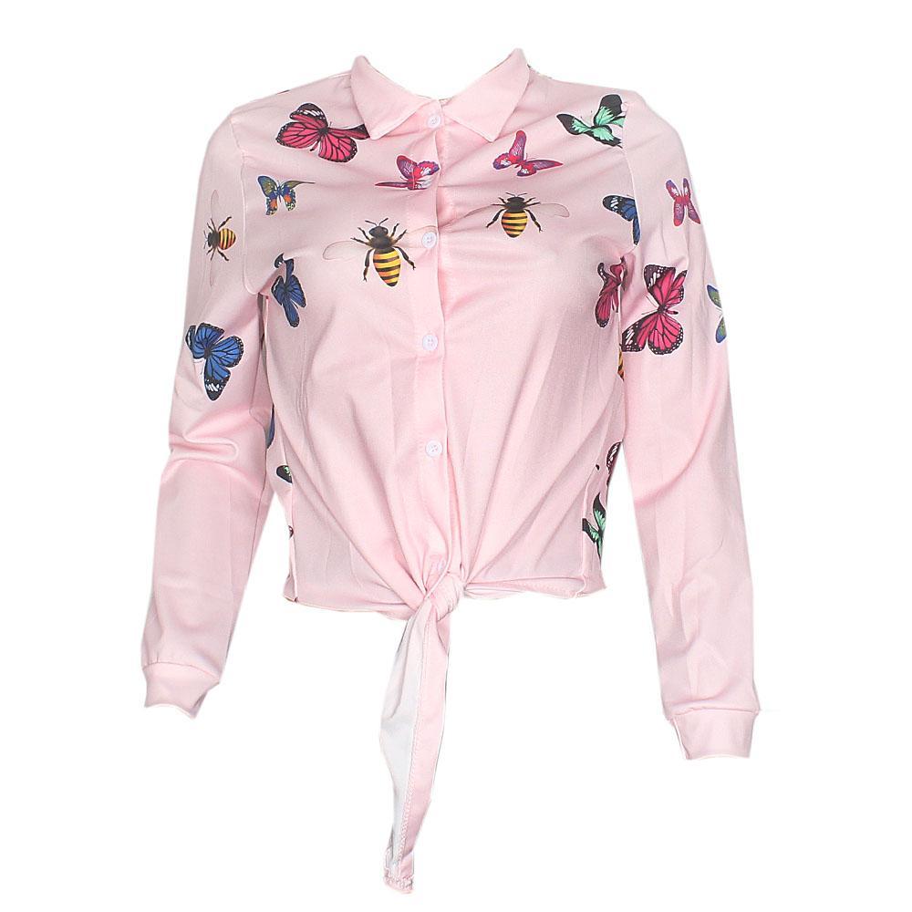 Pink Graphic Print Ladies Tie Front Shirt