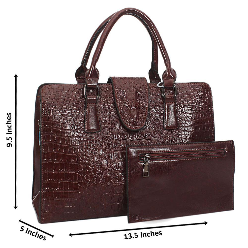 Jane Stanley Melia Coffee Croc Leather Tote Handbag