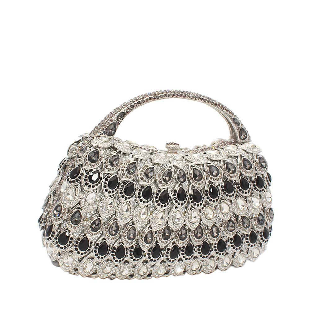 Silver Black Tear Drops Diamante Crystals Handle Clutch Purse