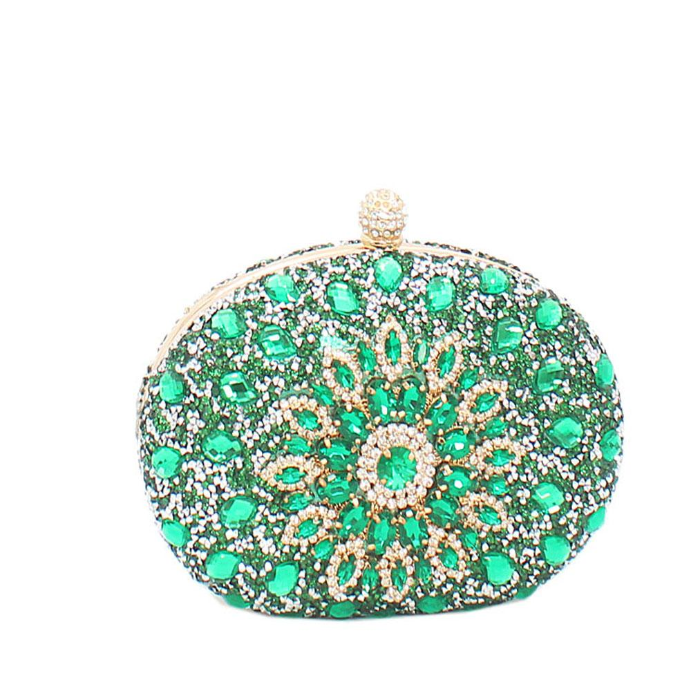 Green Prima De Rose Studded Clutch Purse