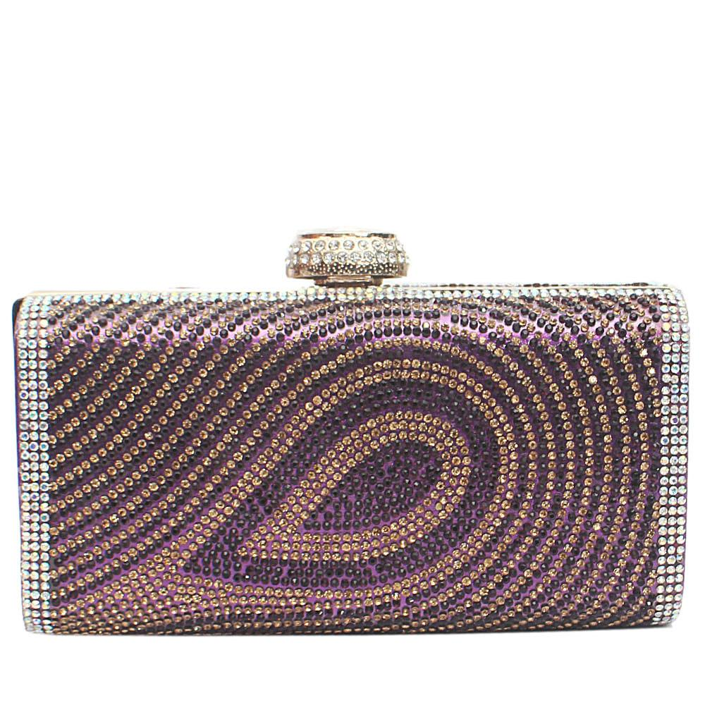Purple Stud Fiona Hard Clutch Purse