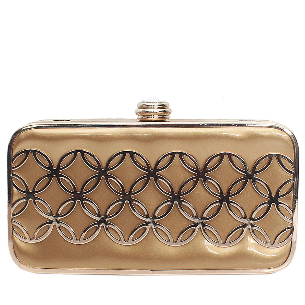 Prima De Rose Gold Leather Hard Clutch Purse