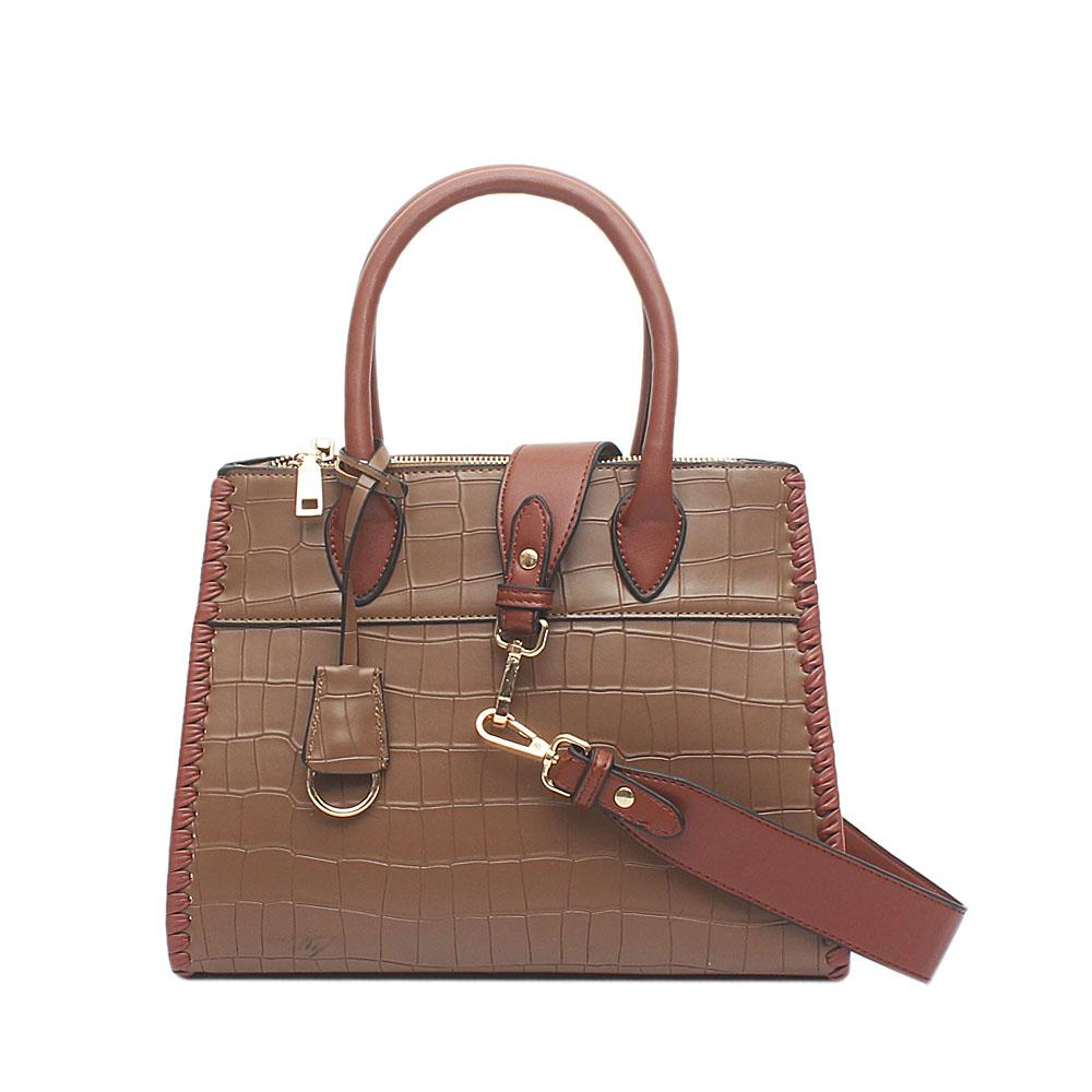 Melrose Swift Khaki Brown Croc Leather Tote Bag