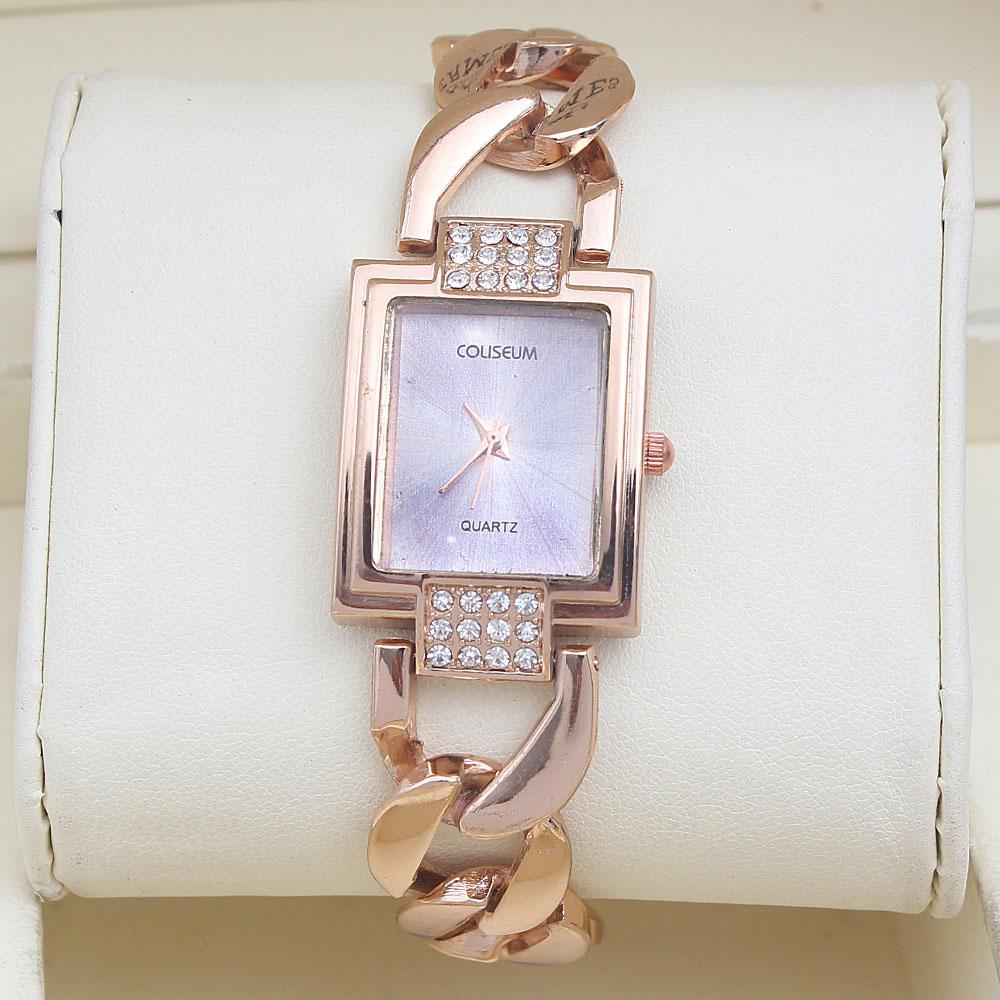 Coliseum Prima Rose Studded Gold Ladies Fashion Watch-