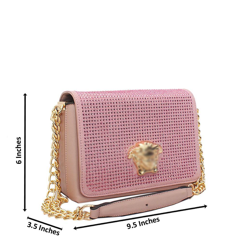 Pink Ice Studded Leather Chain Crossbody Handbag