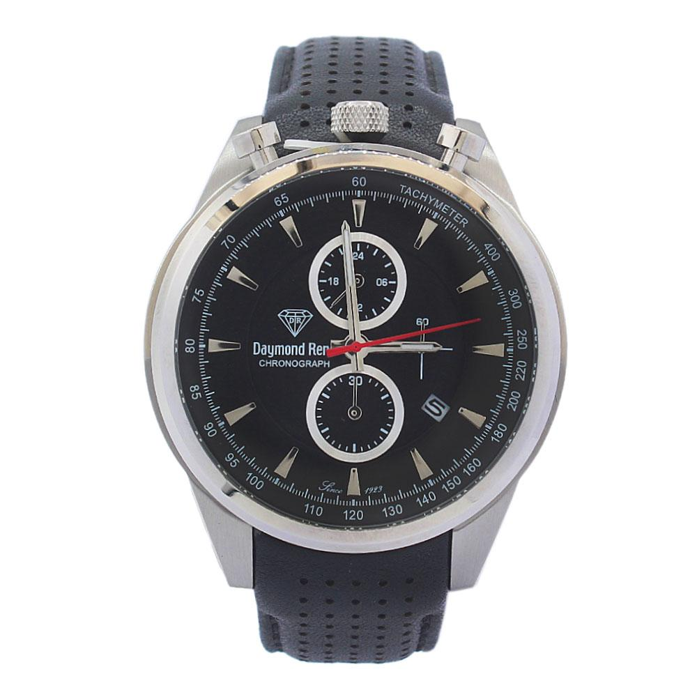 DR 10ATM Silver Black Leather Divers Chronograph Watch