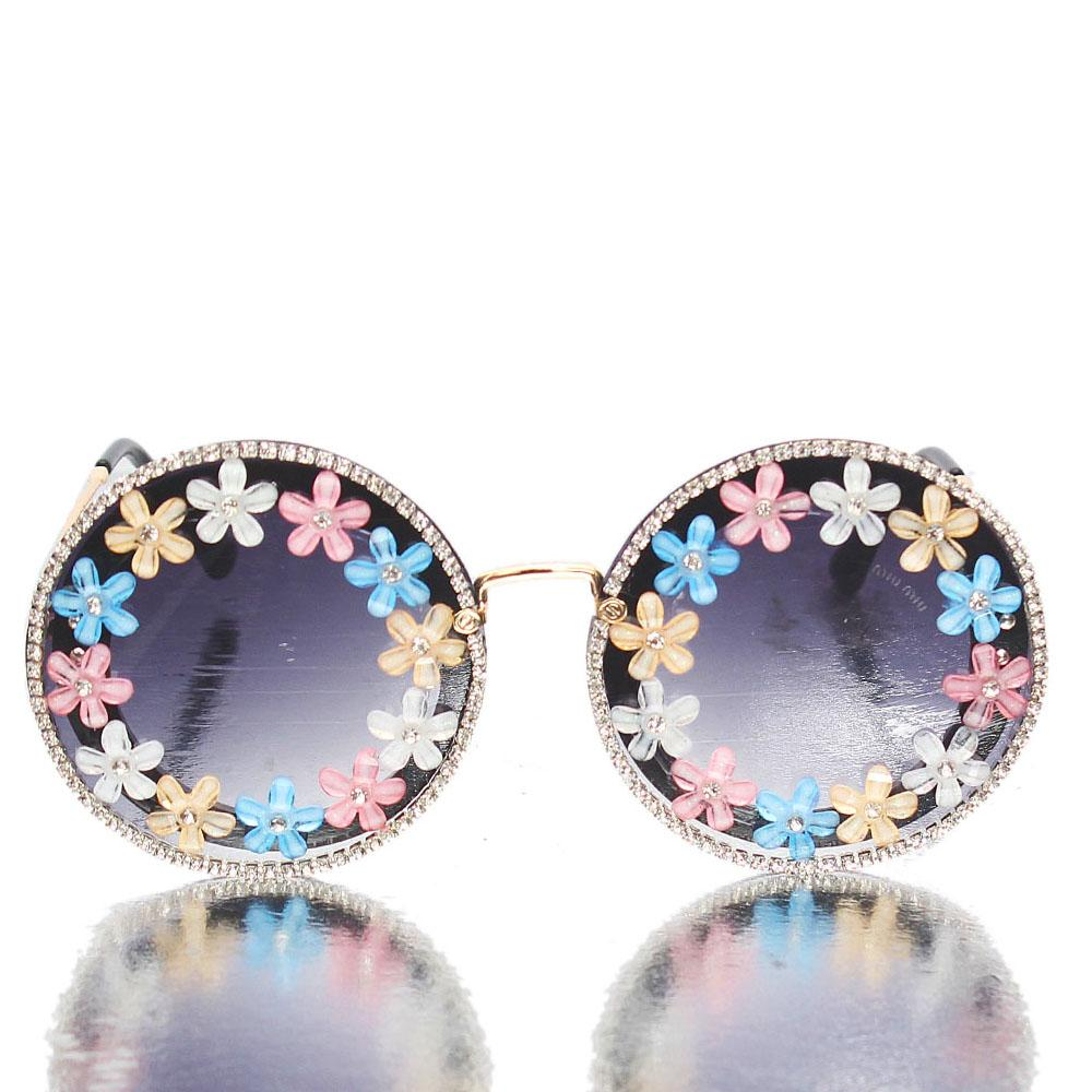 Gold Black Studded Round Face Sunglasses
