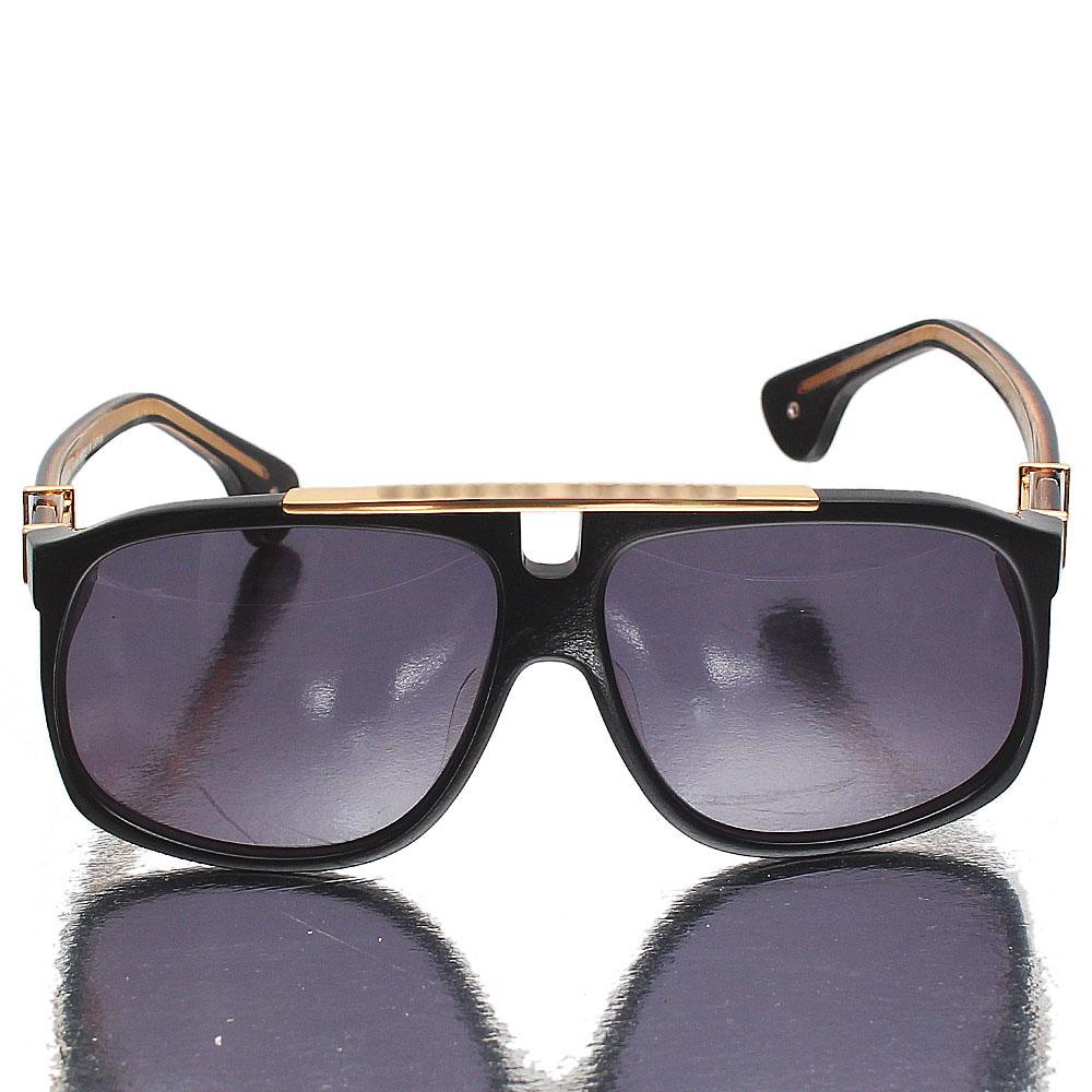 Gold Black Pilot Dark Lens Sunglasses