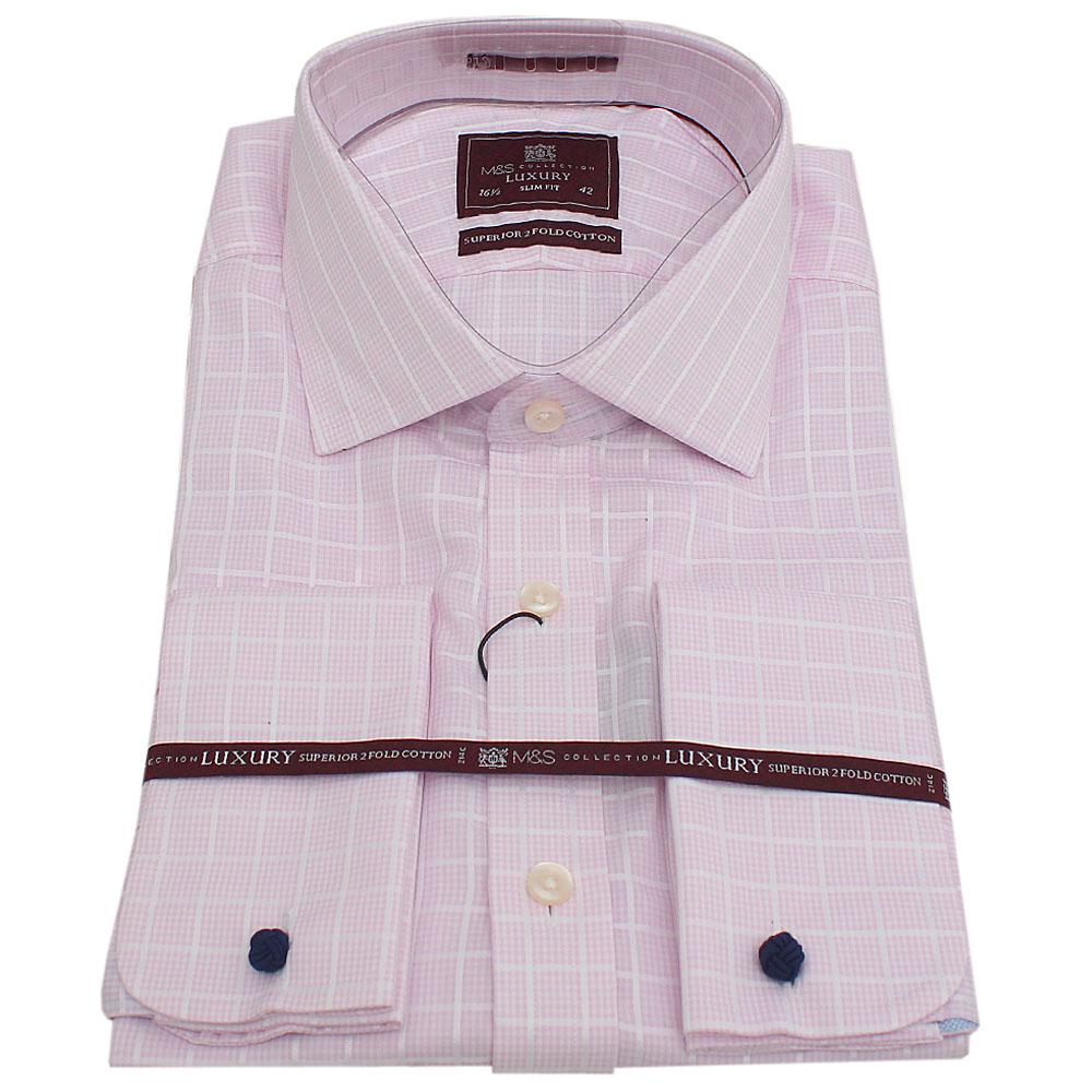 M&S Luxury Pink Check L/Sleeve Slim Fit Men Shirt Wt Cuffs Sz 16.5