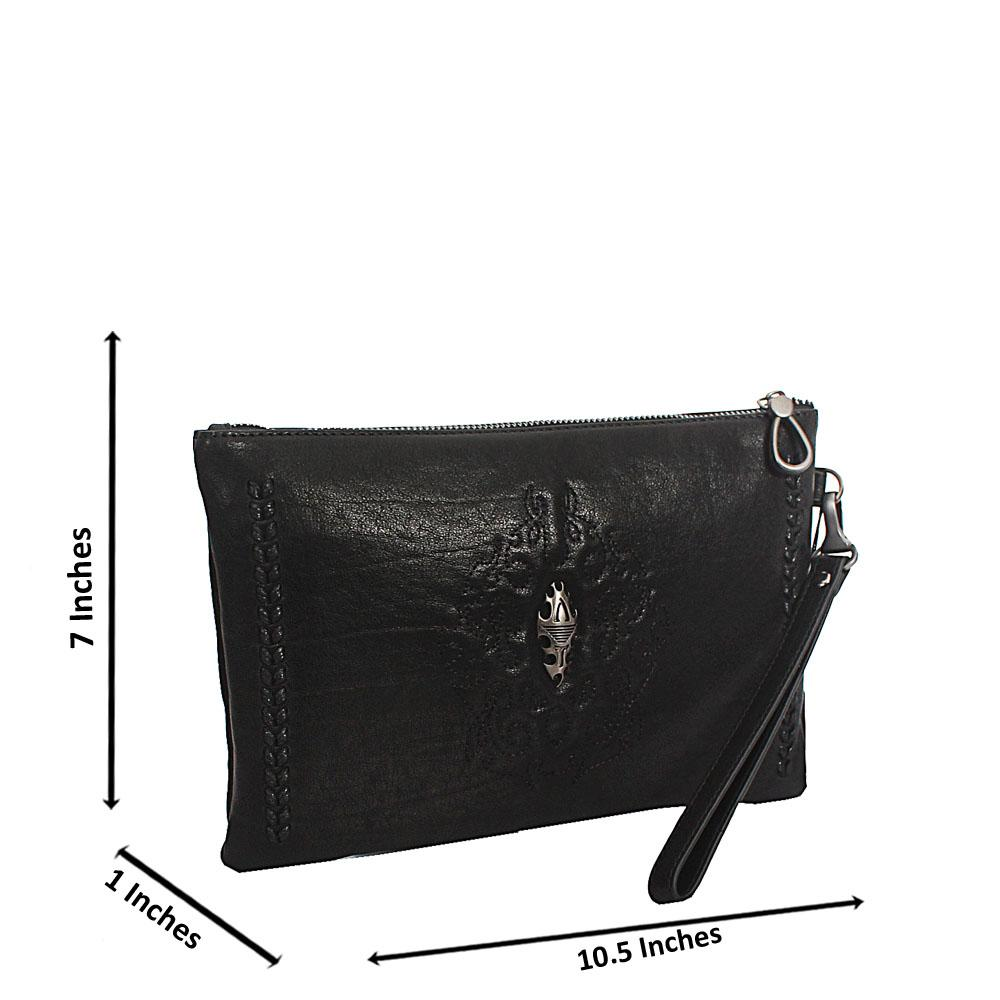 Black Woven Design Montana Leather Man Flat Purse