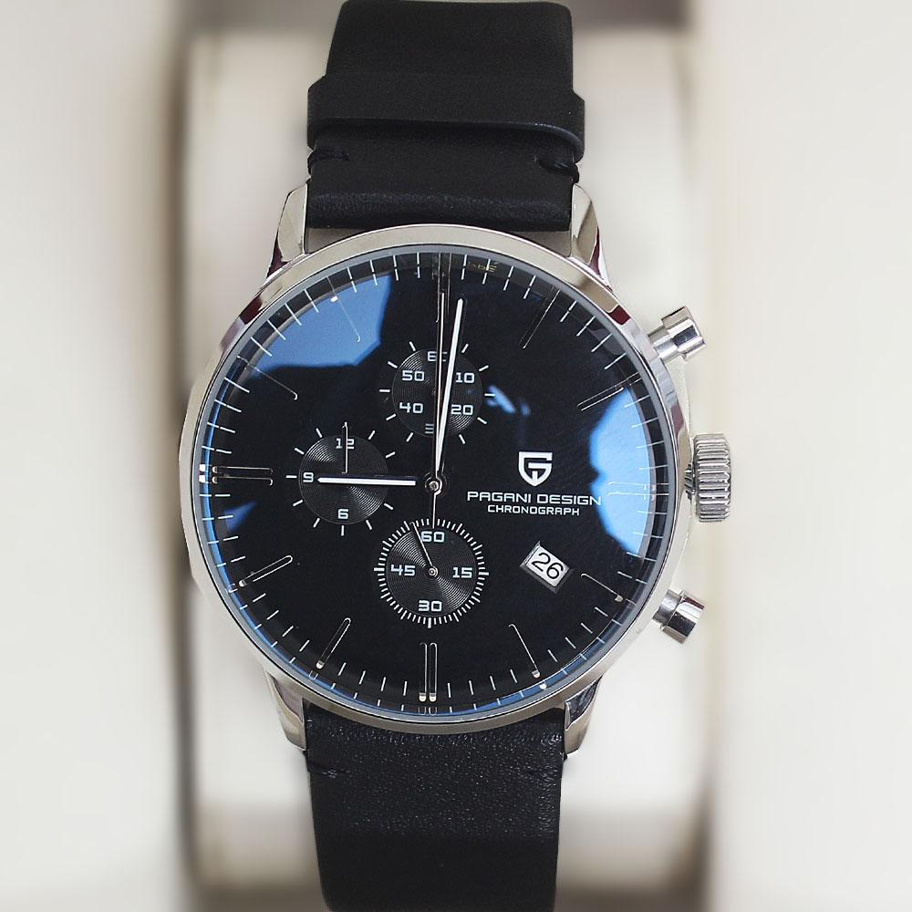 Pagani Design Black Leather Chronograph Watch