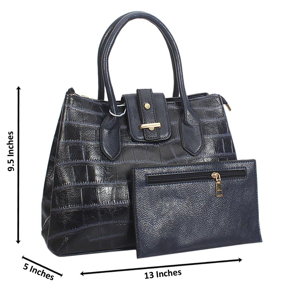 Jane Stanley Bianca Navy Croc Leather Tote Handbag