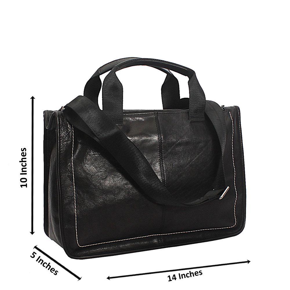 Black Triple Partition Top Grain Leather Briefcase