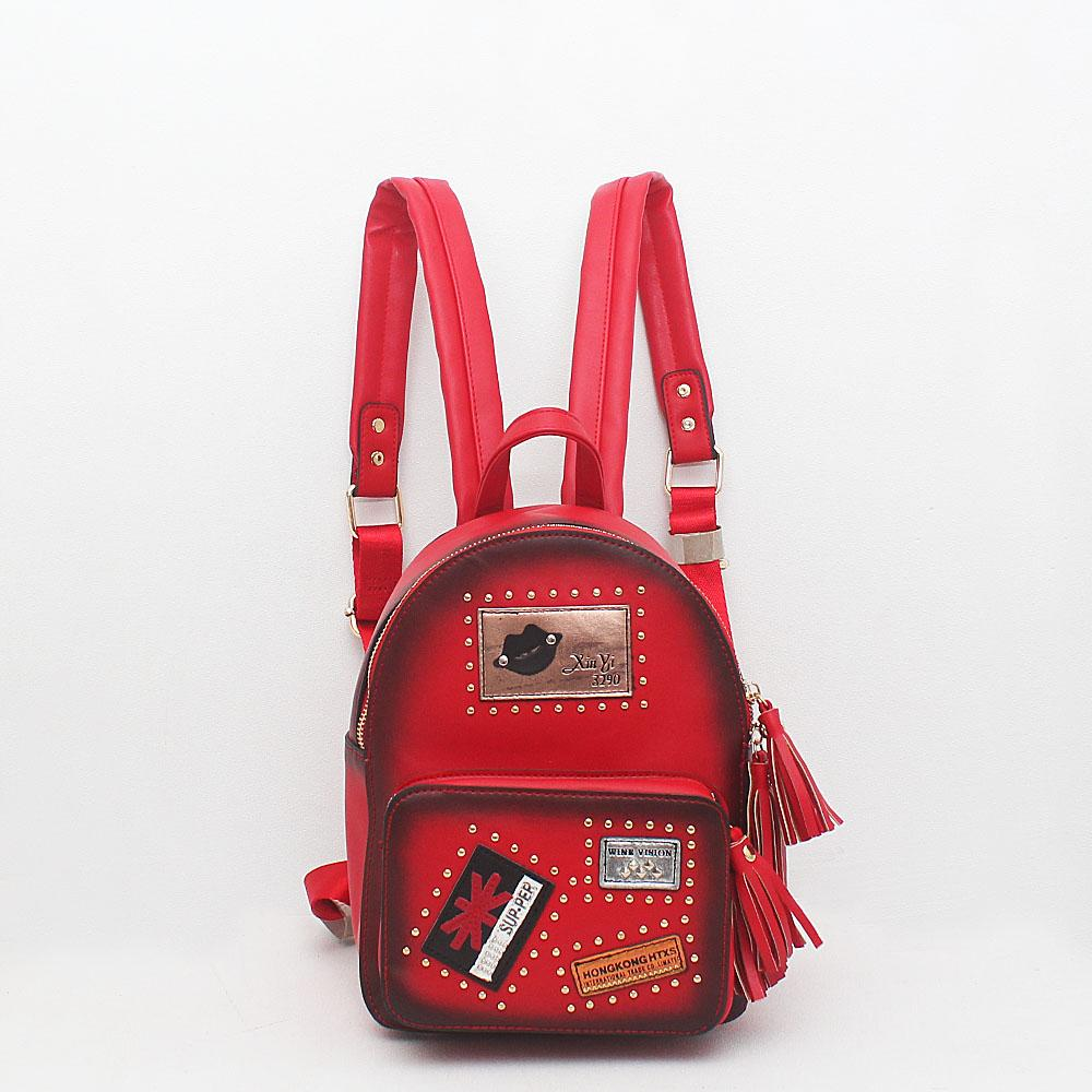 London Style Red Leather Backpack
