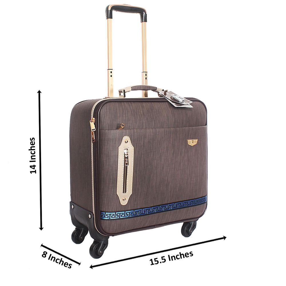 Brown Cowboy Leather 14 Inch Pilot Suitcase Wt Padlock