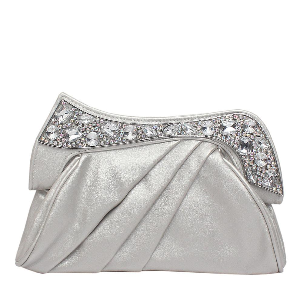 Silver Leather Studded Flat Clutch