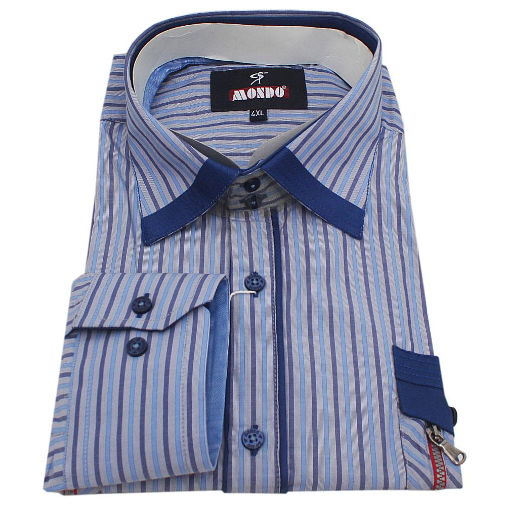 Mondo Blue Stripe L/Sleeve Slim Fit Men Shirt