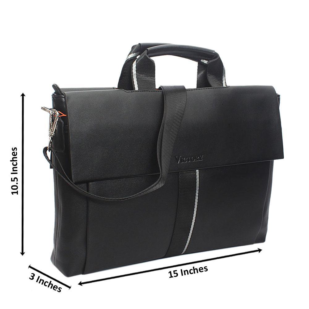 Black Outline Doupleflip Leather Man Bag
