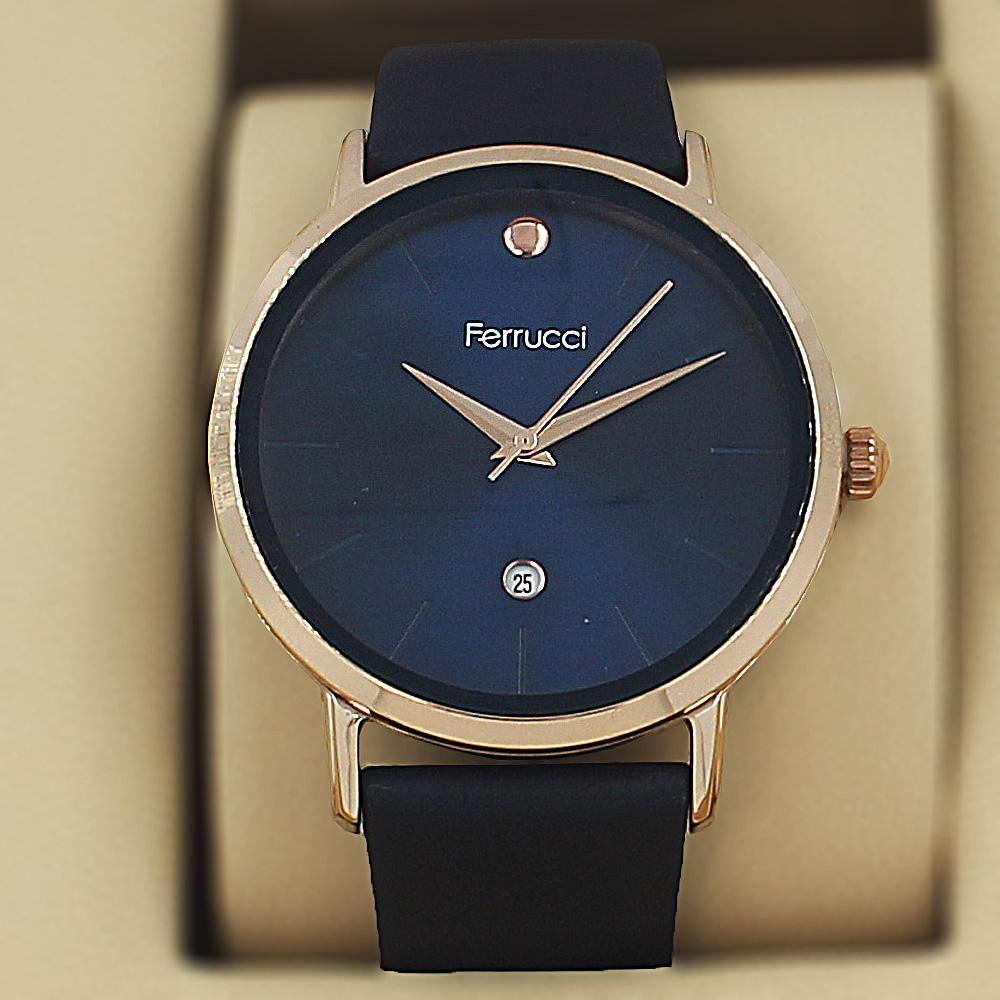 Ferrucci Elmo Navy Leather Curve Series Watch