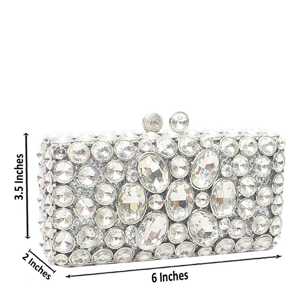 Silver Diamante Crystal Hard Clutch Purse