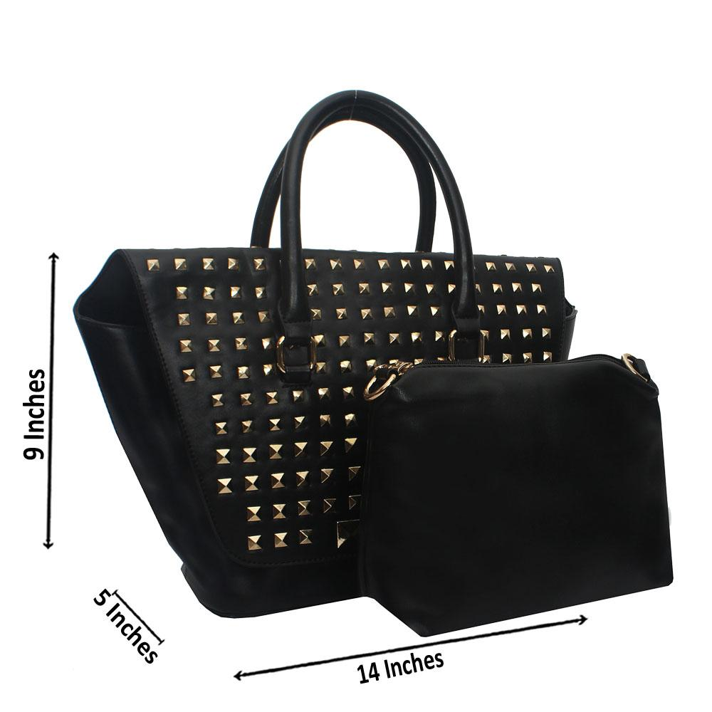 Black Metal Stud Trapezoid Leather Tote Handbag