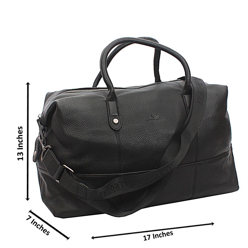 Armaeny Black Top Grain Cowhide Leather Vintage Duffel Bag