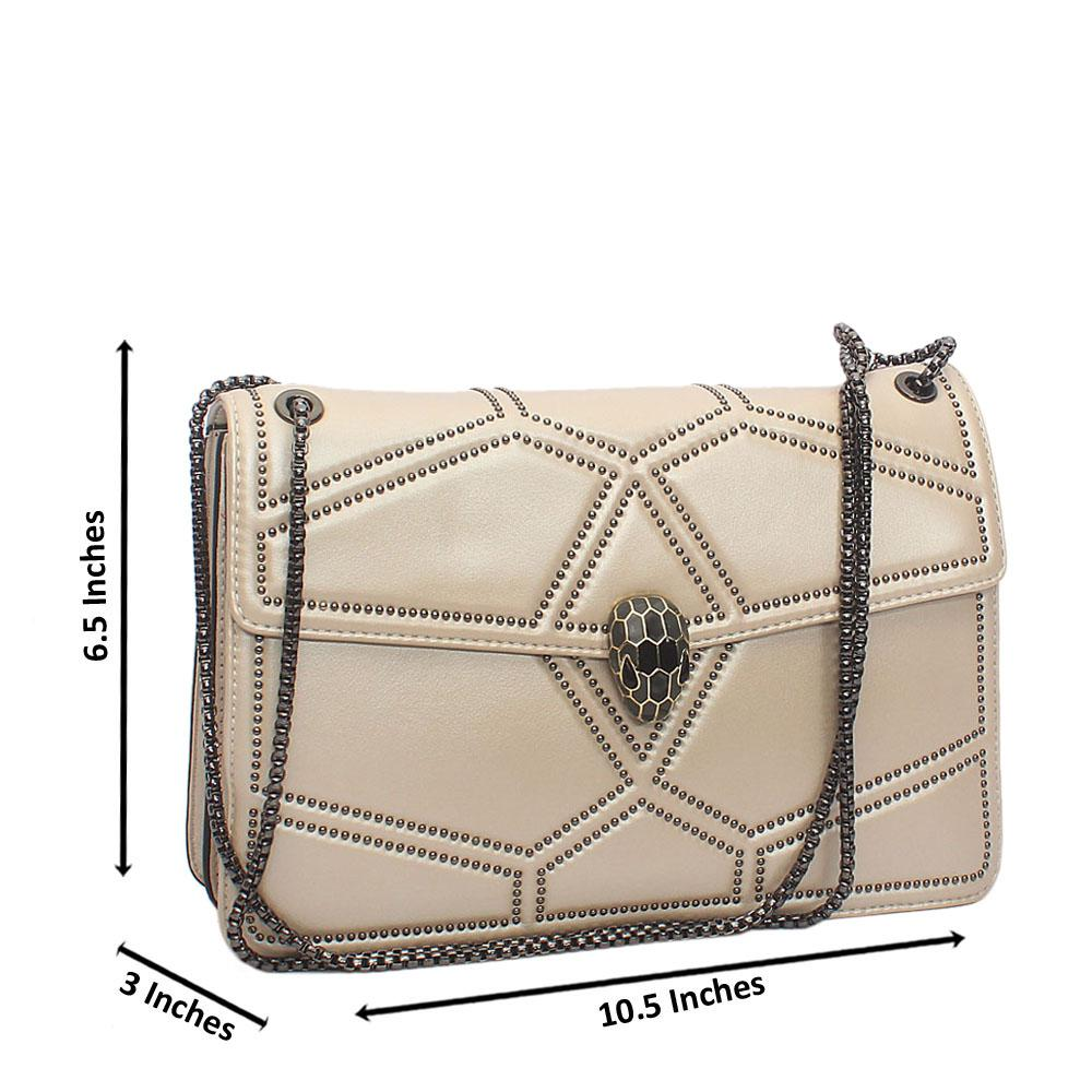 Stylish Multistud Cream Crossbody Tuscany Leather Handbag