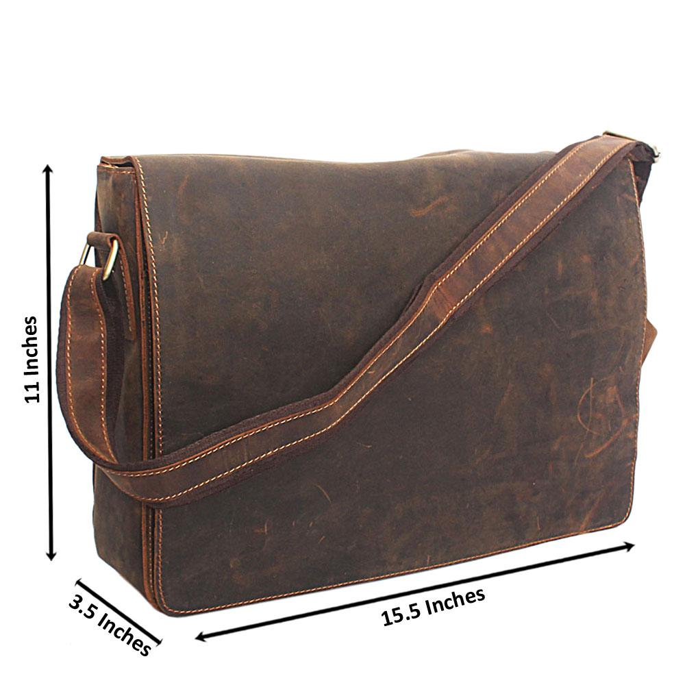 Brownish Green Flip Hand Made Leather Messenger Bag
