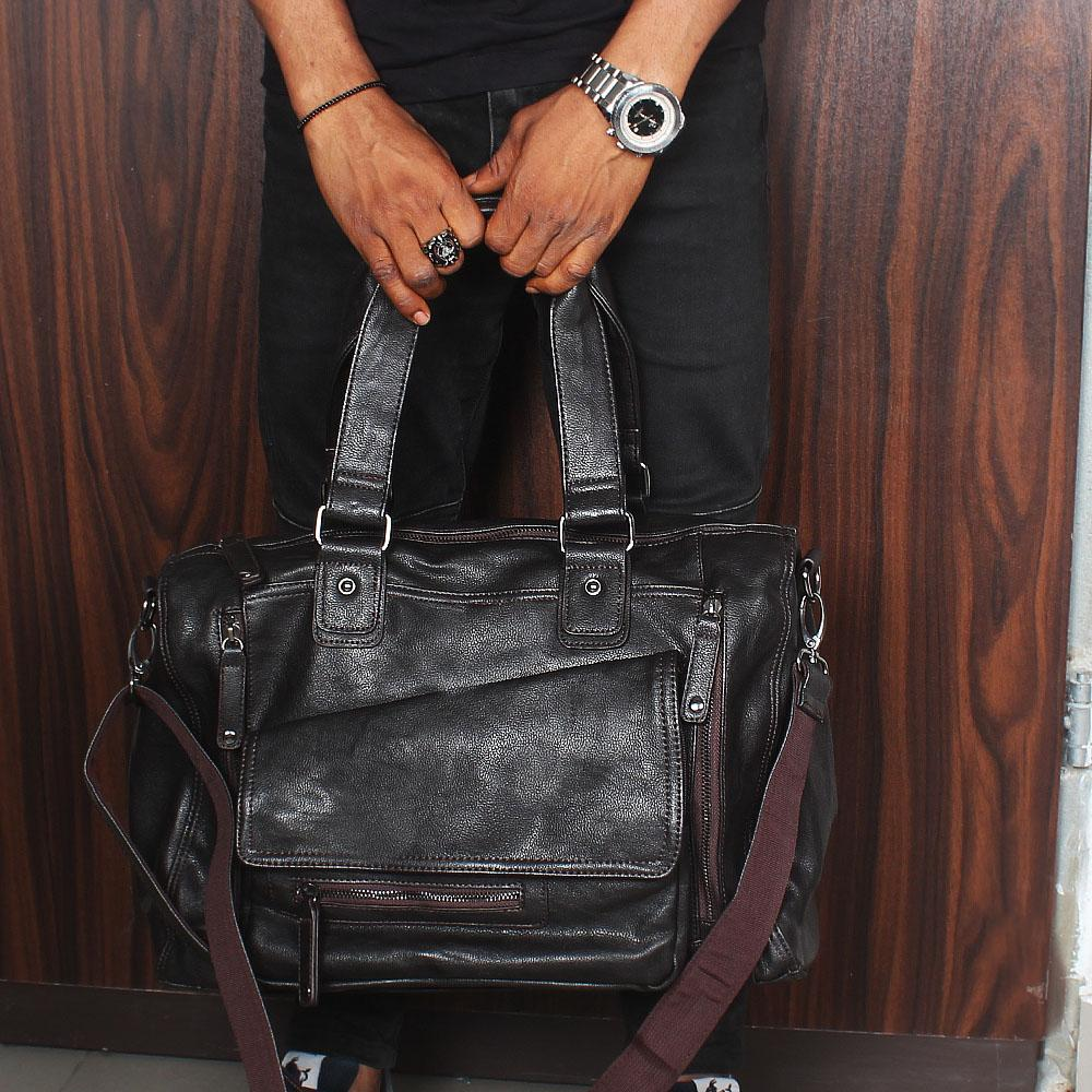 Sol Coffee Brown Stud Buckle Cassania Leather Man Bag