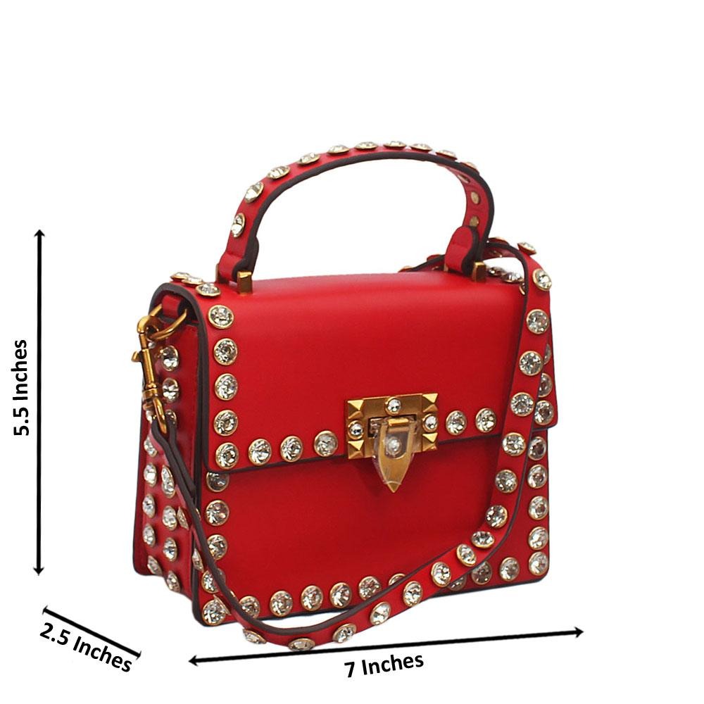 Red Crystal Studded Etched Tuscany Leather Mini Handbag