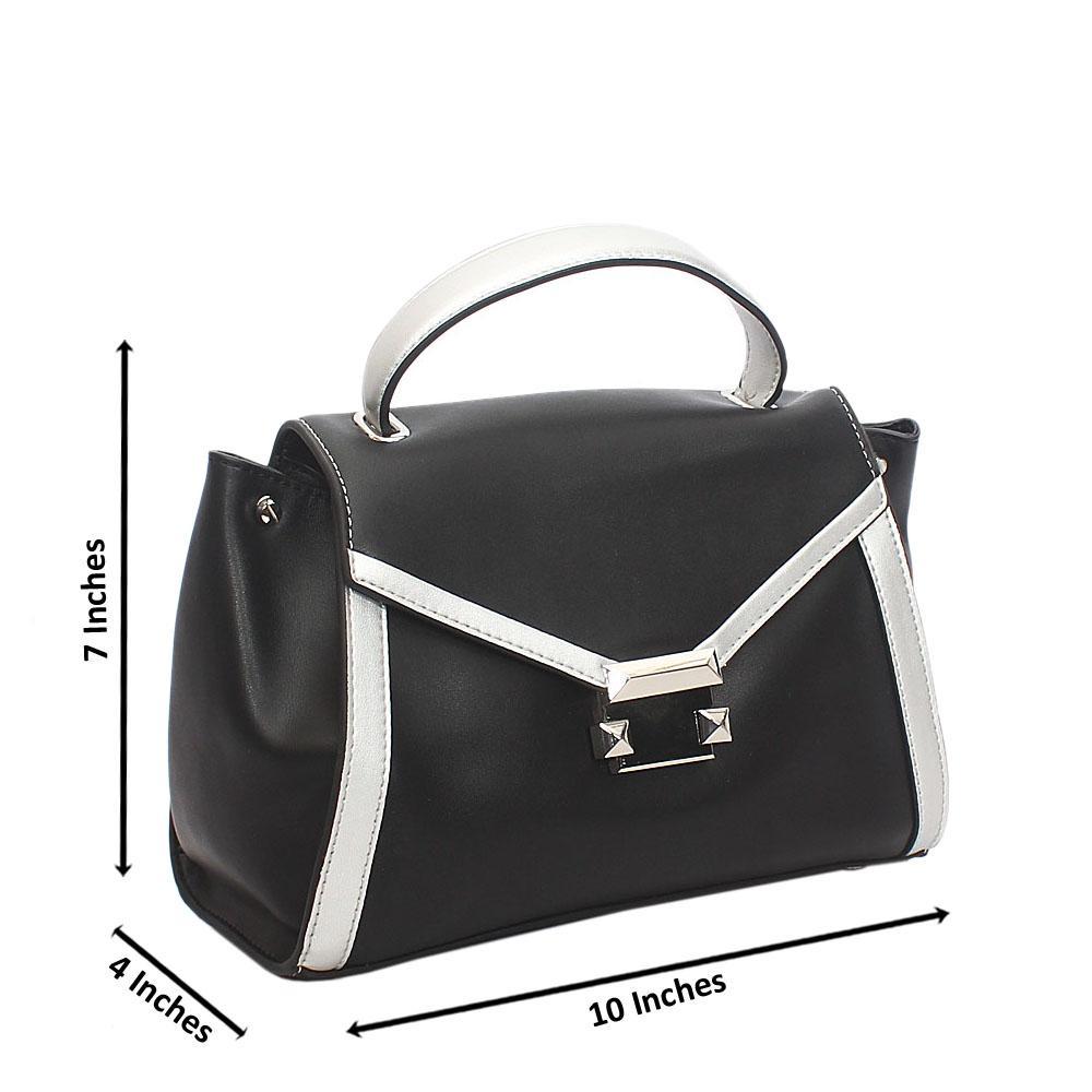 Chic Black Envelop Styled Tuscany Leather Mini Handbag