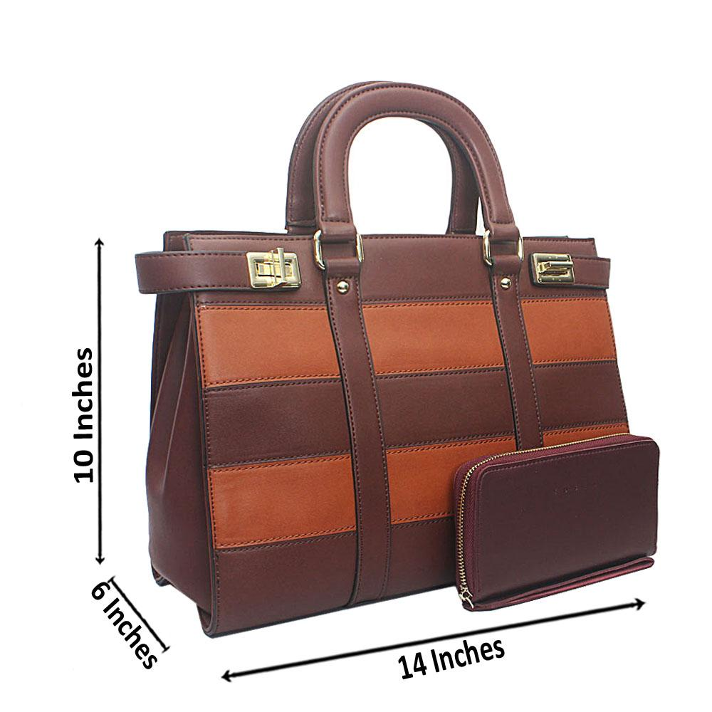 Susen Coffee Brown Square Leather Handbag