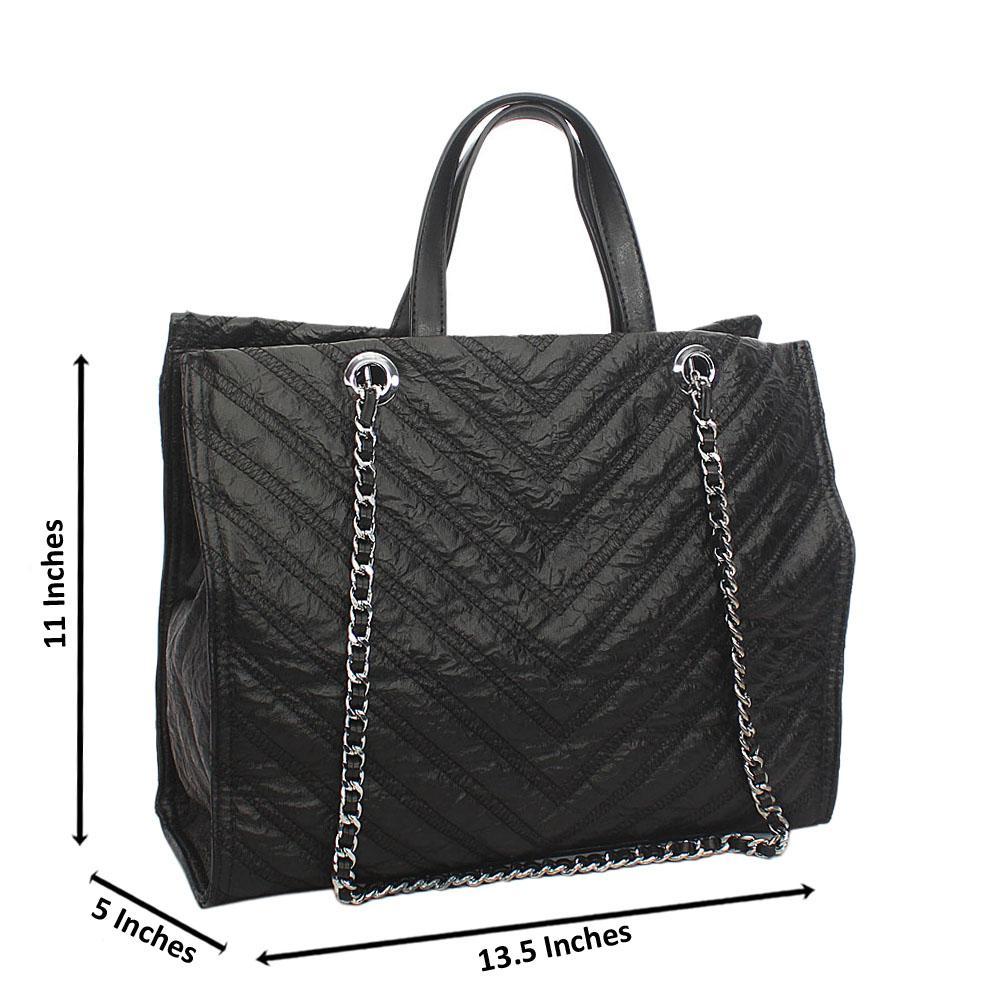 Black Ellie Threaded Tuscany Leather Tote Handbag