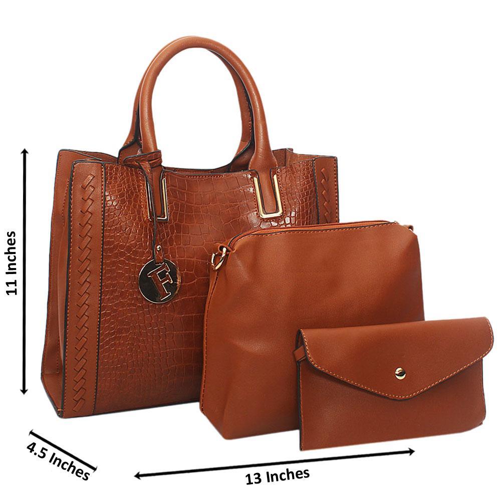 Brown Serena Woven Croc Leather 3 in 1 Tote Handbag