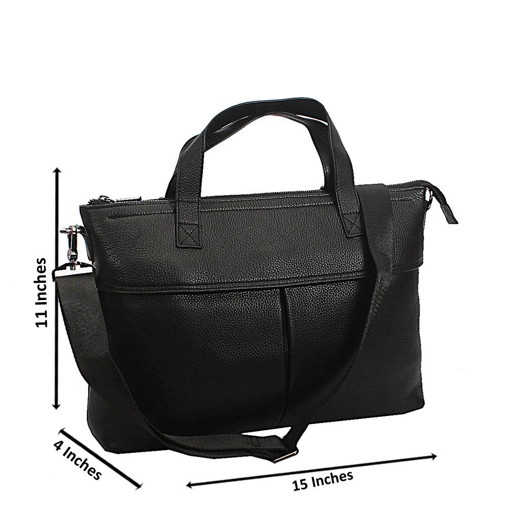 Black Seaman Full Grain Leather Tote Man Bag