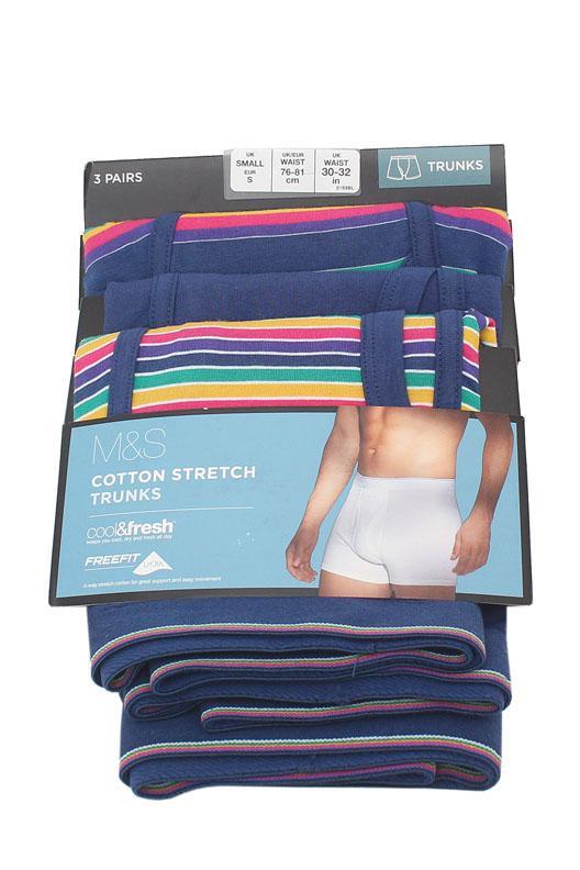 M & S Multicolor Stretch Cotton 3 Pairs Men Trunks