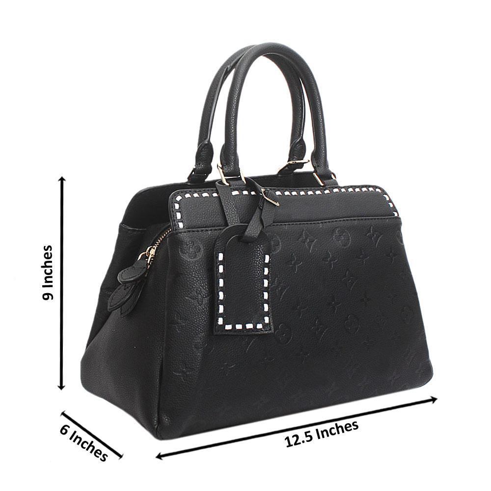 Black Montanna Medium Etched Batic Saffiano Leather Handbag