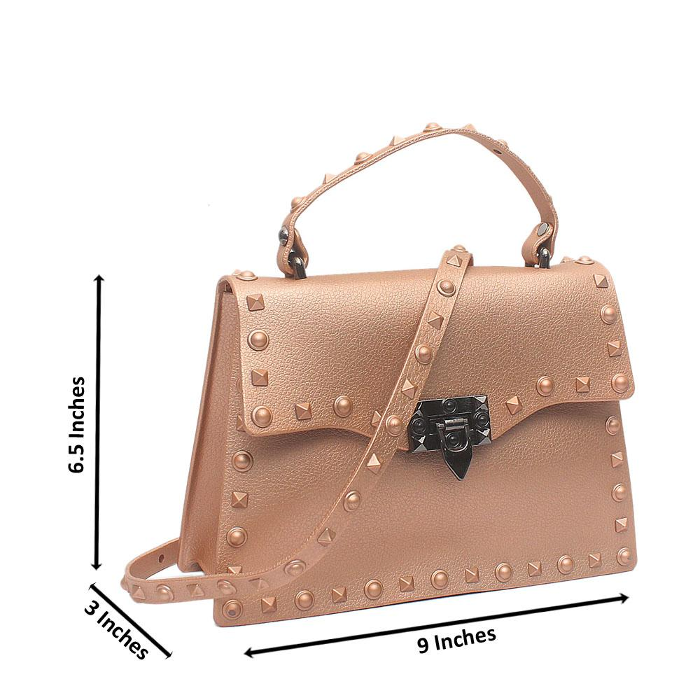 Pink Rockstud Spike Small Single-Handle Rubber Bag