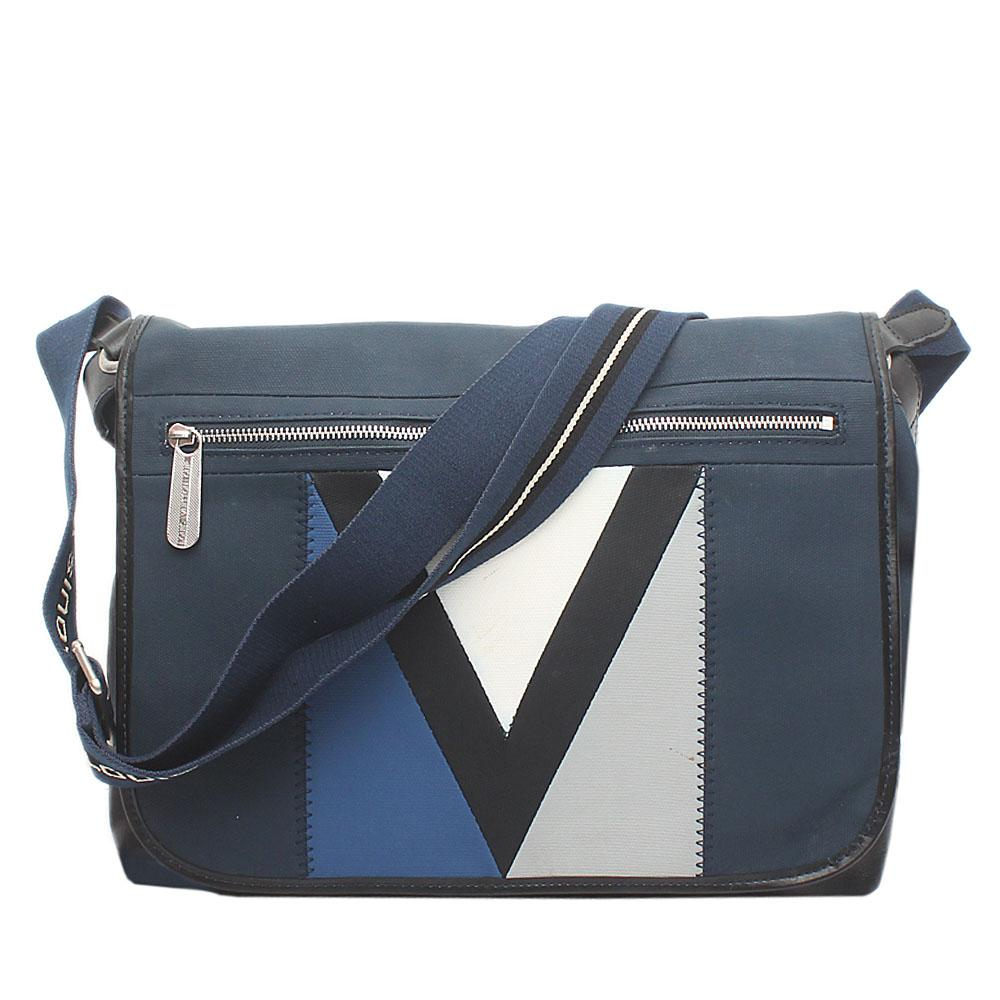 Navy Blue Fabric Leather Messenger Bag