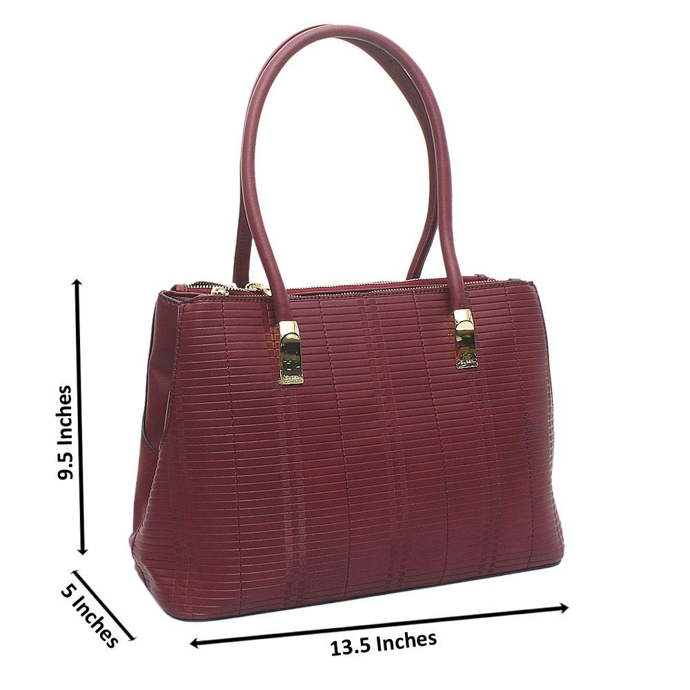 Susen Wine Leather Handbag
