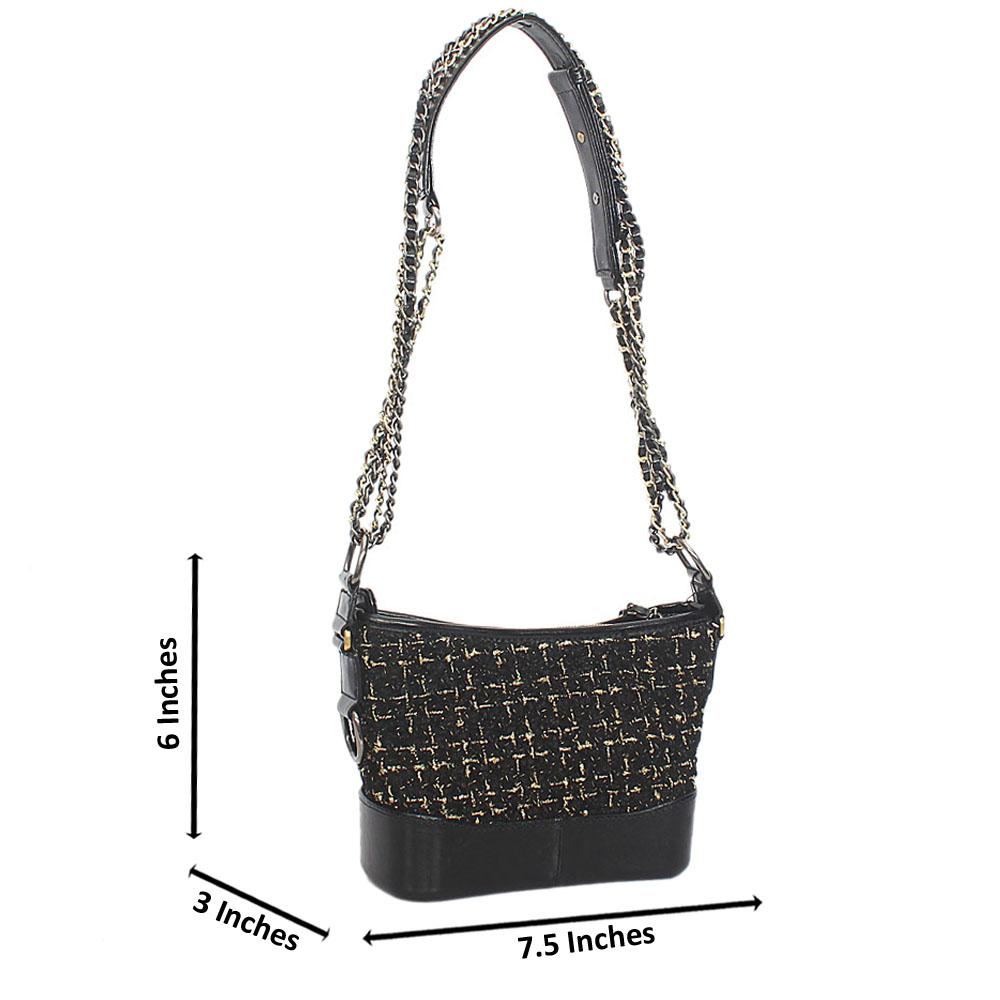 Gold Black Fabric Leather Chain Crossbody Bag