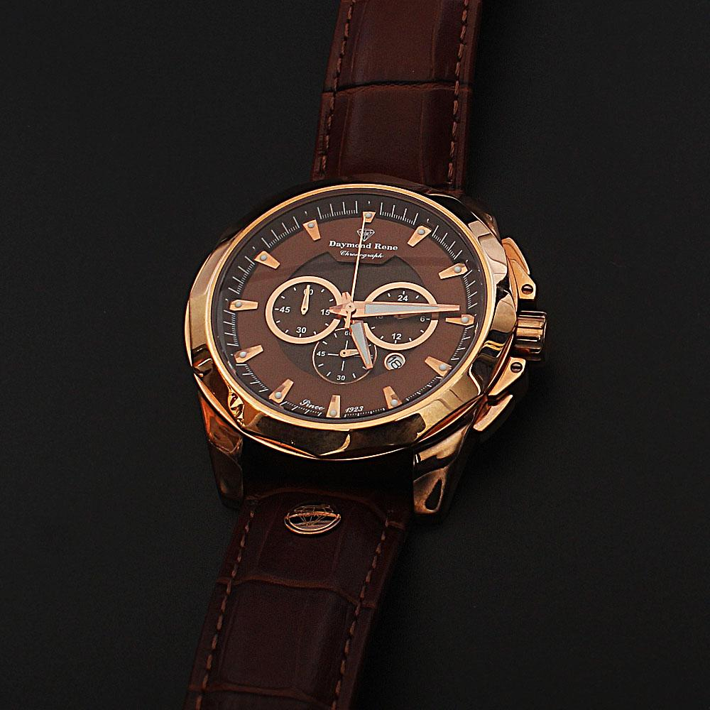 Daymond Rene 3 ATM Gold Brown Leather Chronograph Watch