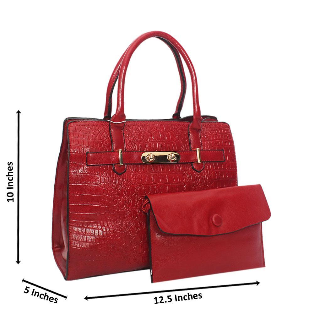 Wine Scarlett Croc Leather Tote Handbag