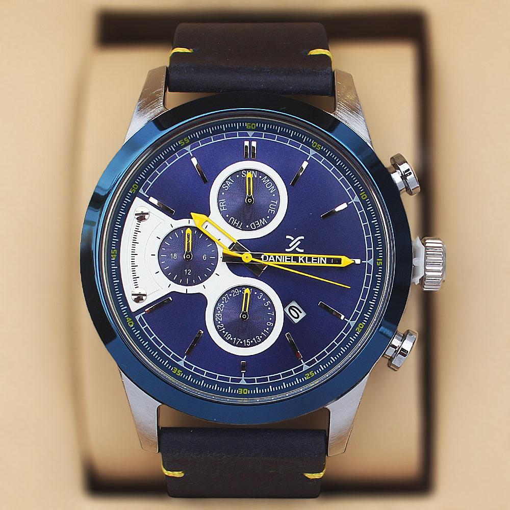 Daniel Klein Swarwoski Navy Leather Watch