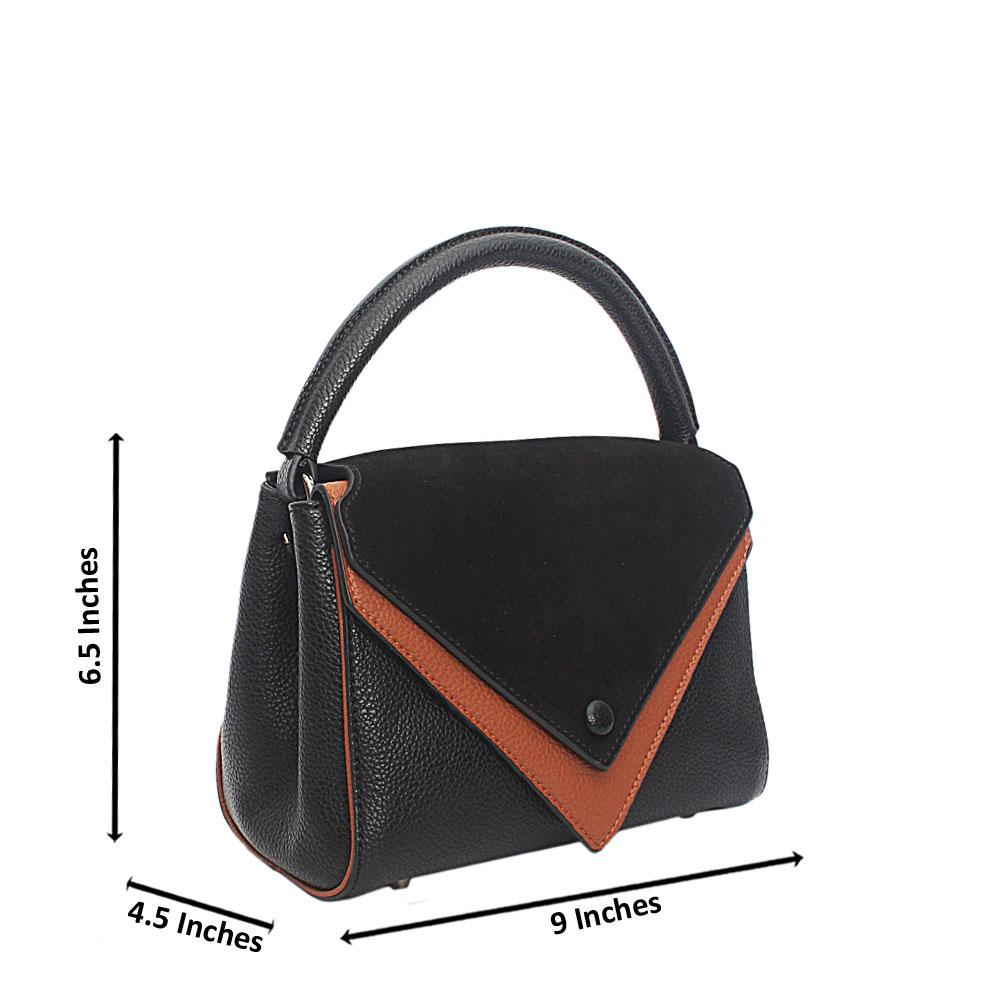 Black Leather Mini Top Handle Handbag