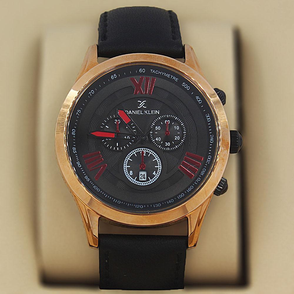 Daniel Klein Thiago Black Red Gold Steel Leather Divers Series Watch